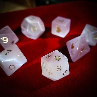 Cat's Eye - Pink  Gemstone Dice Set