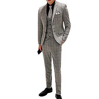 Allthemen Men's Plaid Yhden rivin kaksipainikeinen kolmiosainen puku (takki + liivi + housut) valmistujaisseremoniaan, häät