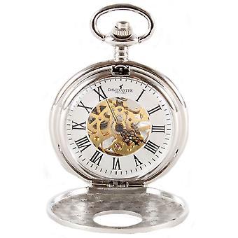David Aster Half Hunter Patterned Mechanical Pocket Watch - Silver/Gold