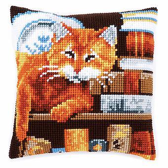 Vervaco Крест стежка Kit: Подушка: Кошка и книги