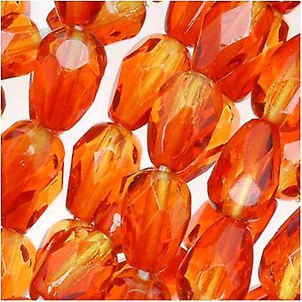 Czech Fire Polished Glass Beads 7 x 5mm Teardrop Orange Yellow (25)