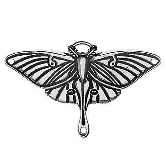 Pendant Link, Luna Moth 25.5x38.5mm, 1 pendente, Argento antico, Di TierraCast
