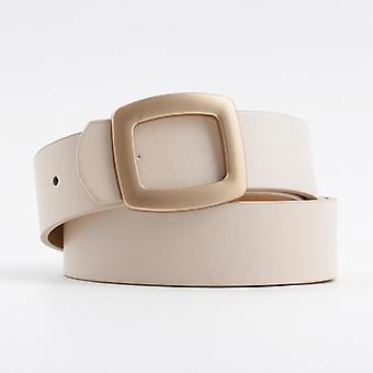 Women Black White Pink High Quality Gold Square Pin Metal Buckle Belts