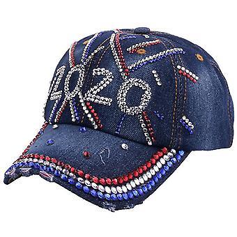 Feux d'artifice Diamond Denim Baseball Cap Rhinestone Snapback Hat Gorra