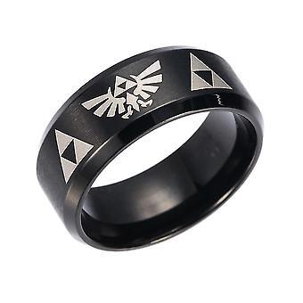 טבעת זלדה אנימה טבעת נירוסטה אצבע טבעת עבור קוספליי שחור