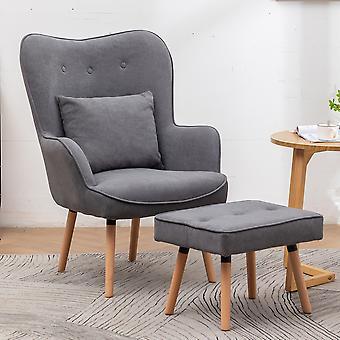 Velvet Wingback Lounge Sessel und Hocker