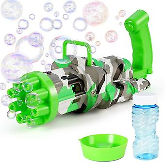 Kids Electric Automatic Gatling Bubble Gun Toys Summer Soap Water Bubble Machine 2 In 1  Bubble