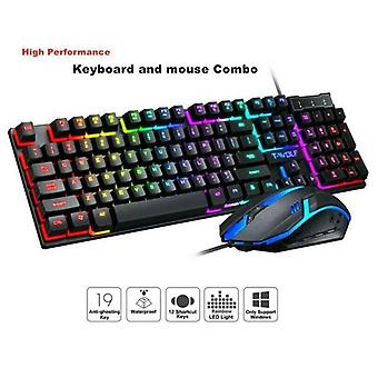 Gaming RGB LED Backlit Wired Mechanical Keyboard + Mouse Sets for PC Laptop New