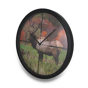 Autumn Elk In Scope Cross Hairs HD Elk Image Atomic Wall Clock 13 in.