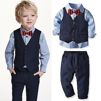 4pcs Suits Baby Striped Shirt Vest Trousers & Formal Blazer Clothes Set