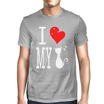 Men's Cute Graphic Statement T-Shirt - I Love My Cat Grey Graphic Tee