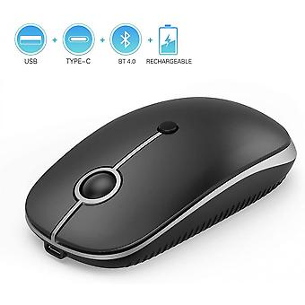 Rechargeable 2.4ghz Wireless Mouse Ms04 Slim Triple Mode Mouse Bluetooth Usb Or Type C Connection