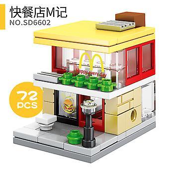 Pikaruokaravintola M Sd6602 Mini City Shops Street View Blocks Market Retail Store RavintolaMalli asettaa rakennus leluyhteensopivan Creator Architectun