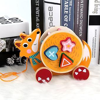 Drewniana przyczepa dla dzieci Zabawki modelowe dla zwierząt Pasujące drewniane kognitywne klocki konstrukcyjne Zabawki edukacyjne dla dzieci -(lis)