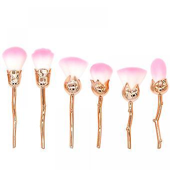 6pcs Brush Loose Paint Face Brush Soft Fiber Hair Pink Brush Girl Makeup Tool