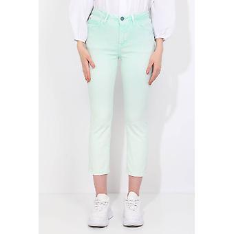 Vanlig passform vanngrønne kvinners jeans
