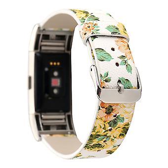 Lederen horlogeband met bloempatroon voor Fitbit Charge2