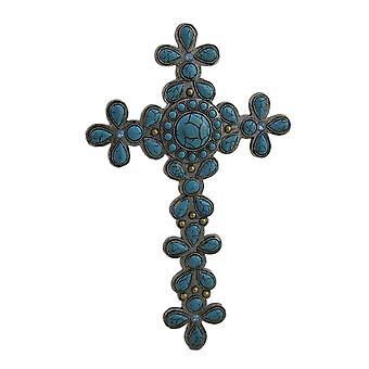 Göttliche Blume Design Faux Türkis Stein dekorative Wand-Kreuz