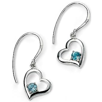 925 Silver Plated Rhodium And Blue Topaz Earring blue