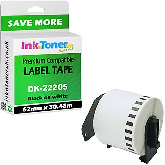 Compatible Brother DK-22205 Black On White 62mmx30.48m pour QL-500