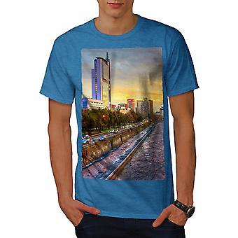 River Metropolis City Men Royal BlueT-shirt | Wellcoda