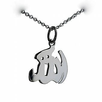 14x16mm Allah geschrieben in arabischer Schrift Anhänger mit einem Rolo Kette 24 Zoll Silber