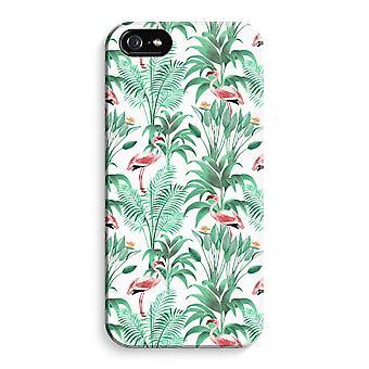 iPhone 5C koko Tulosta tapauksessa (kiiltävä) - Flamingo lehdet
