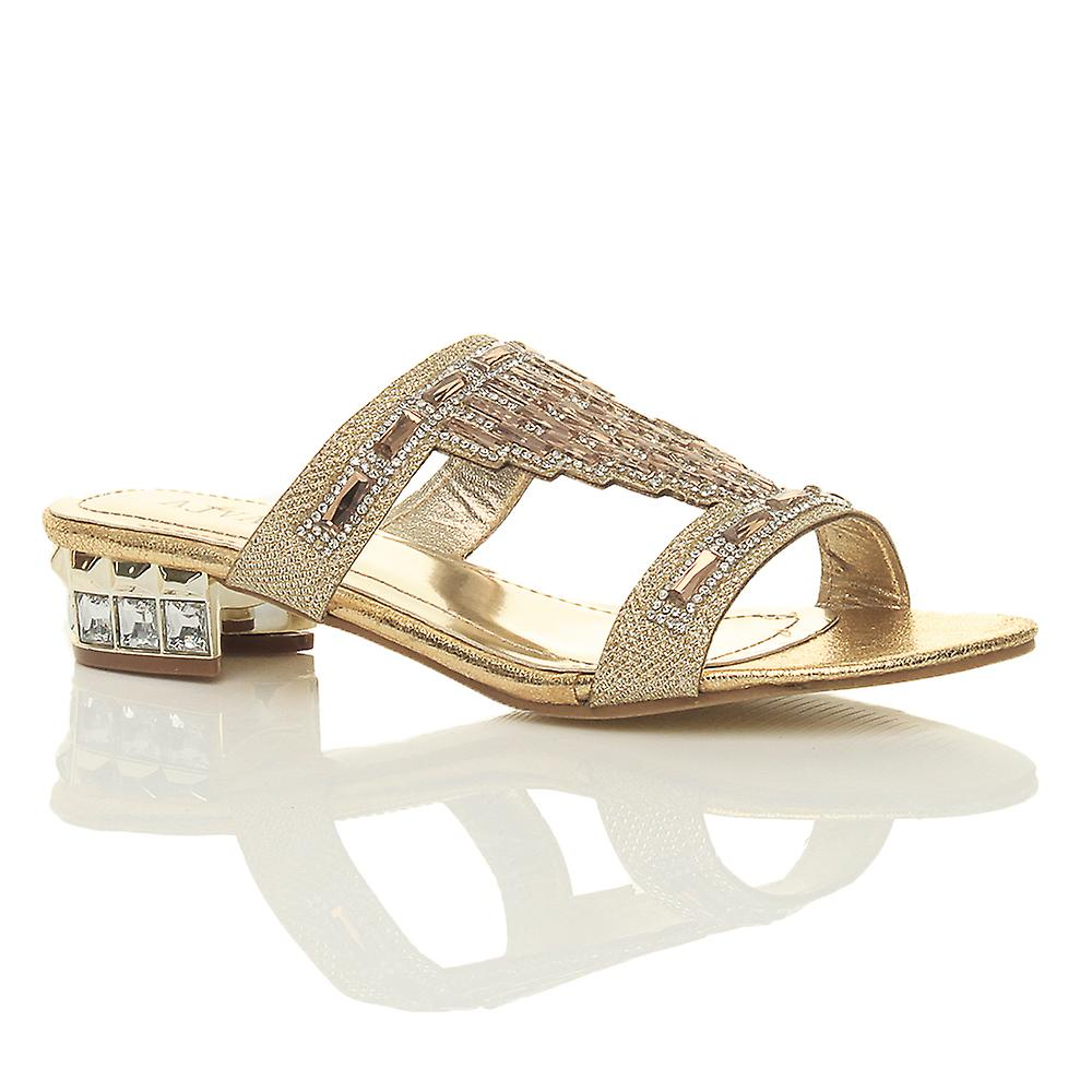 Ajvani womens lage blok hiel diamante gem avond slip op muildieren flip flops sandalen schoenen pue0RO