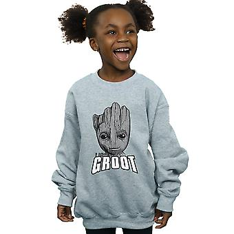 Marvel Girls Guardians Of The Galaxy Groot Face Sweatshirt