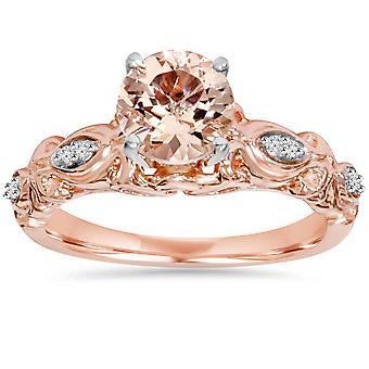 1 قيراط مورغانيتي آند الماس خاتم خمر 14 ك روز الذهب