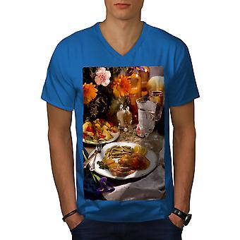 Diner Restaurant Food Men Royal BlueV-Neck T-shirt   Wellcoda
