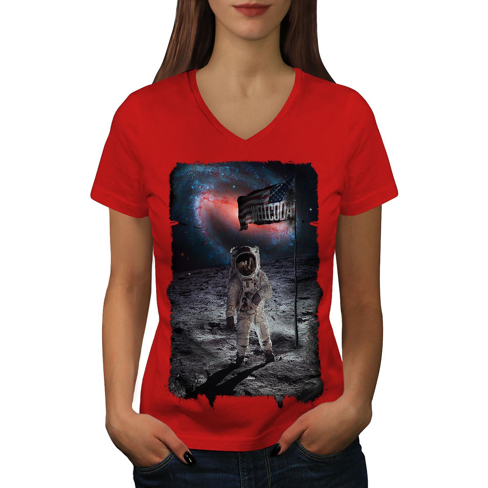 Astronaute lune USA espace femmes RedV-Neck T-shirt | Wellcoda