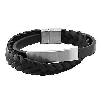 Burgmeister leather bracelet braided leather black with stainless steel clasp, JBM1180-559