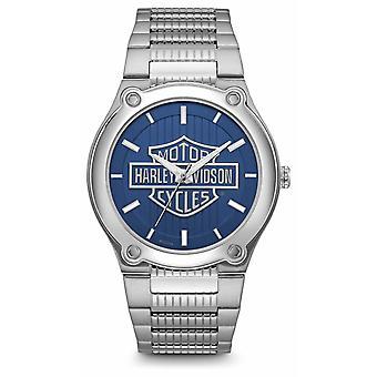 Harley Davidson Logo impression cadran bleu en acier inoxydable montre Bracelet 76A159