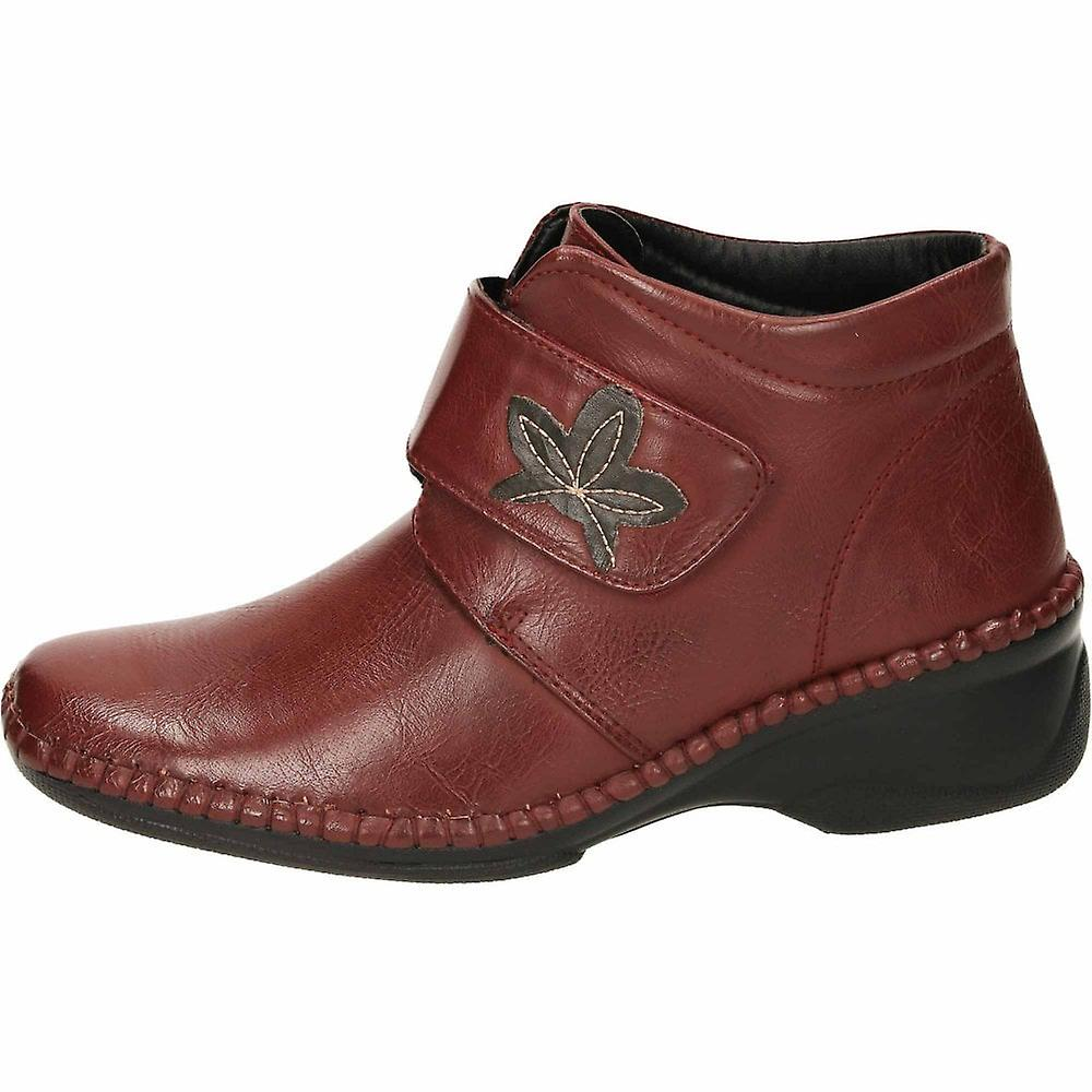 Cushion-Walk Wine Wedge Heel Hook And Loop Ankle Boots