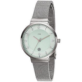 JOBO ladies wrist watch quartz analog stainless steel matt date mens watch green
