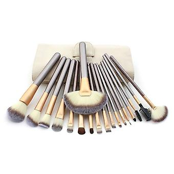 18 Make Up Brushes Set - Synthetic Hair Aluminium Ferrule Wooden Handle Cream Leather Bag
