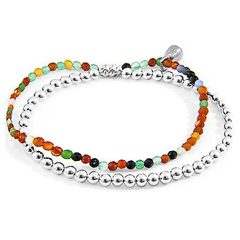 Anchor & Crew Multicoloured Agate Harmony Silver and Stone Bracelet