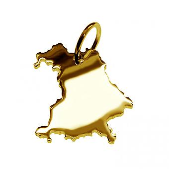 Trailer map pendants in gold yellow-gold in the form of Bavaria