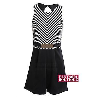 Novas senhoras sem mangas com cinto Skater Playsuit preto listra branca feminino