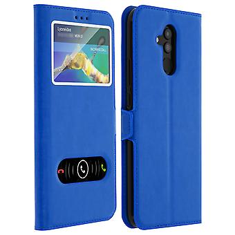 Double window flip standing case for Huawei Mate 20 lite with TPU shell - Blue