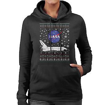 NASA-Logo und Shuttle Weihnachten Stricken Muster Damen Sweatshirt mit Kapuze