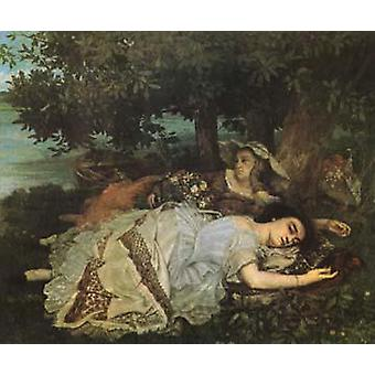 Young Women on the Banks of the Seine, Gustave Courbet, 60x50cm