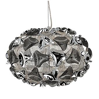Zoeklicht driehoek grote Chrome Aluminium en gerookte Acryl hanger