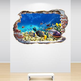 Full Colour Tropical Fish Smashed Wall 3D Effect Wall Sticker