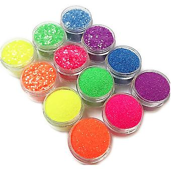 12 bottles of glitter for nail decoration fine-grained/hexagon
