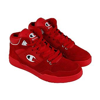 Champion 3 On 3 Mens Red Suede Low Top Lace Up Sneakers Shoes