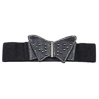 Elasticated Black Butterfly Fashion Belt with Crystal Detail