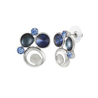 Evige samling livlig blå Multi emalje og Crystal sølv Tone Stud gennemboret øreringe