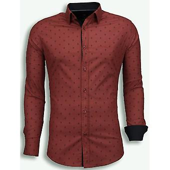 E Shirts - Slim Fit - French Lily Pattern - Bordeaux